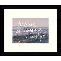 Framed Art Print 'The Ocean Is Calling And I Must Go' by Leah Flores 11 x 9-inch
