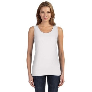 Juniors' White Fine Jersey Longer Length Tank