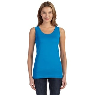 Juniors' Fine Cobalt Cotton Jersey Longer-length Tank