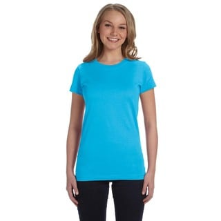 Juniors' Fine Aqua Cotton Jersey T-shirt