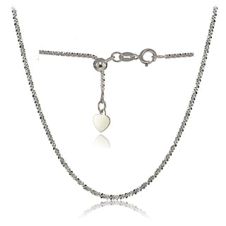 Mondevio 14K White Gold 1.3mm Rock Rope Adjustable Italian Chain Necklace, 14-20 Inches