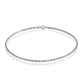 Mondevio 14k White Gold 1.3 Rock Rope Italian Chain Anklet, 9 Inches