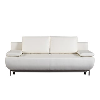 bellini modern living cassino white leather sofa bed free shipping today overstockcom 19036237 - White Leather Sofa