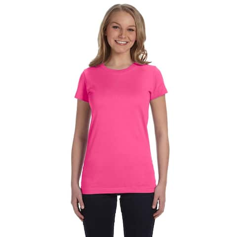 Juniors' Hot Pink Cotton Jersey T-shirt