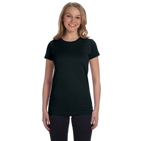 Juniors' Fine Jersey T-Shirt Black