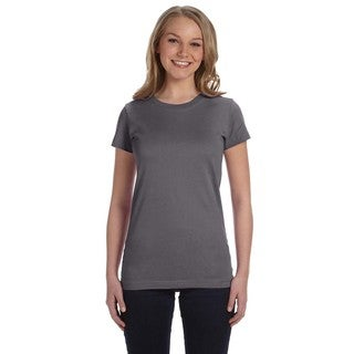 Juniors' Charcoal Cotton Fine Jersey T-shirt