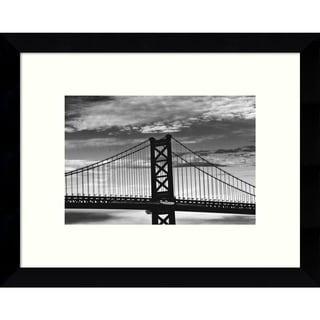 Framed Art Print 'Benjamin Franklin Bridge (b/w)' by Erin Clark 11 x 9-inch