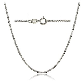 Mondevio 14k White Gold 1.3 Rock Rope Italian Chain Necklace, 18 Inches