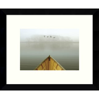 Framed Art Print 'Alone in the Mist 3 (Boat)' by Carlos Casamayor 11 x 9-inch