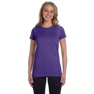 Juniors' Fine Purple Cotton Jersey T-shirt