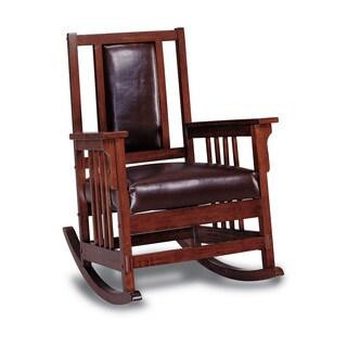 Pine Canopy Mesa Verde Dark Oak Wooden Padded Leather Rocking Chair