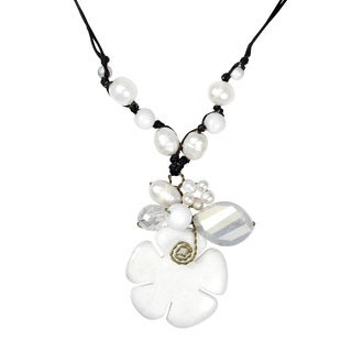 Floral Cultured Freshwater Pearl Crystal Glass Mix Necklace (Thailand)