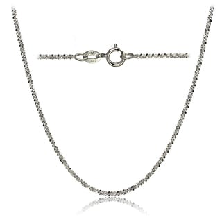 Mondevio 14k White Gold 1.3 Rock Rope Italian Chain Necklace, 24 Inches