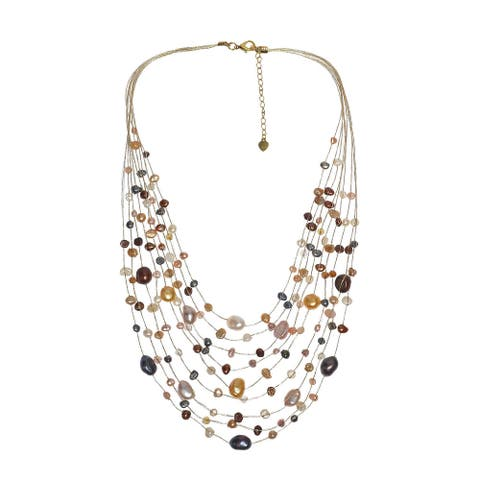 Handmade Multicolor Pearls Multistrand Necklace (Thailand)
