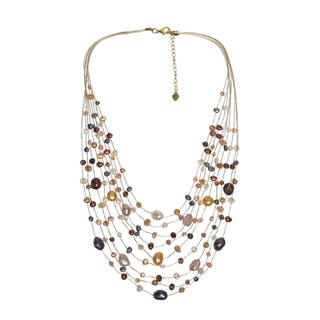 Handmade Multicolor Pearls Multistrand Necklace (Thailand)