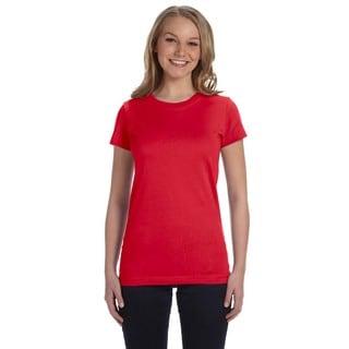 Juniors' Red Fine Jersey T-shirt
