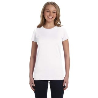 Juniors' White Fine Jersey T-Shirt