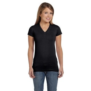 Juniors' Black Fine Jersey V-neck Longer Length T-shirt