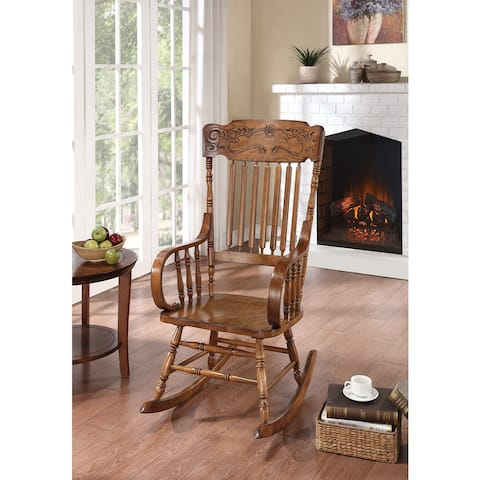 Copper Grove Taber Oak Carved Rocker Chair