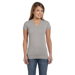 Juniors' Fine Jersey Heather Grey Cotton V-neck Longer-length T-shirt