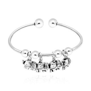 Handmade Enchanting Tropical Elephant Dangles Sterling Silver Cuff Bracelet (Thailand)
