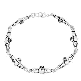 Handmade Sterling Silver .925 Celtic Claddagh Link Bracelet (Thailand)