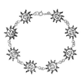 Happy Smiley Summer Sun Link Sterling Silver Bracelet (Thailand)