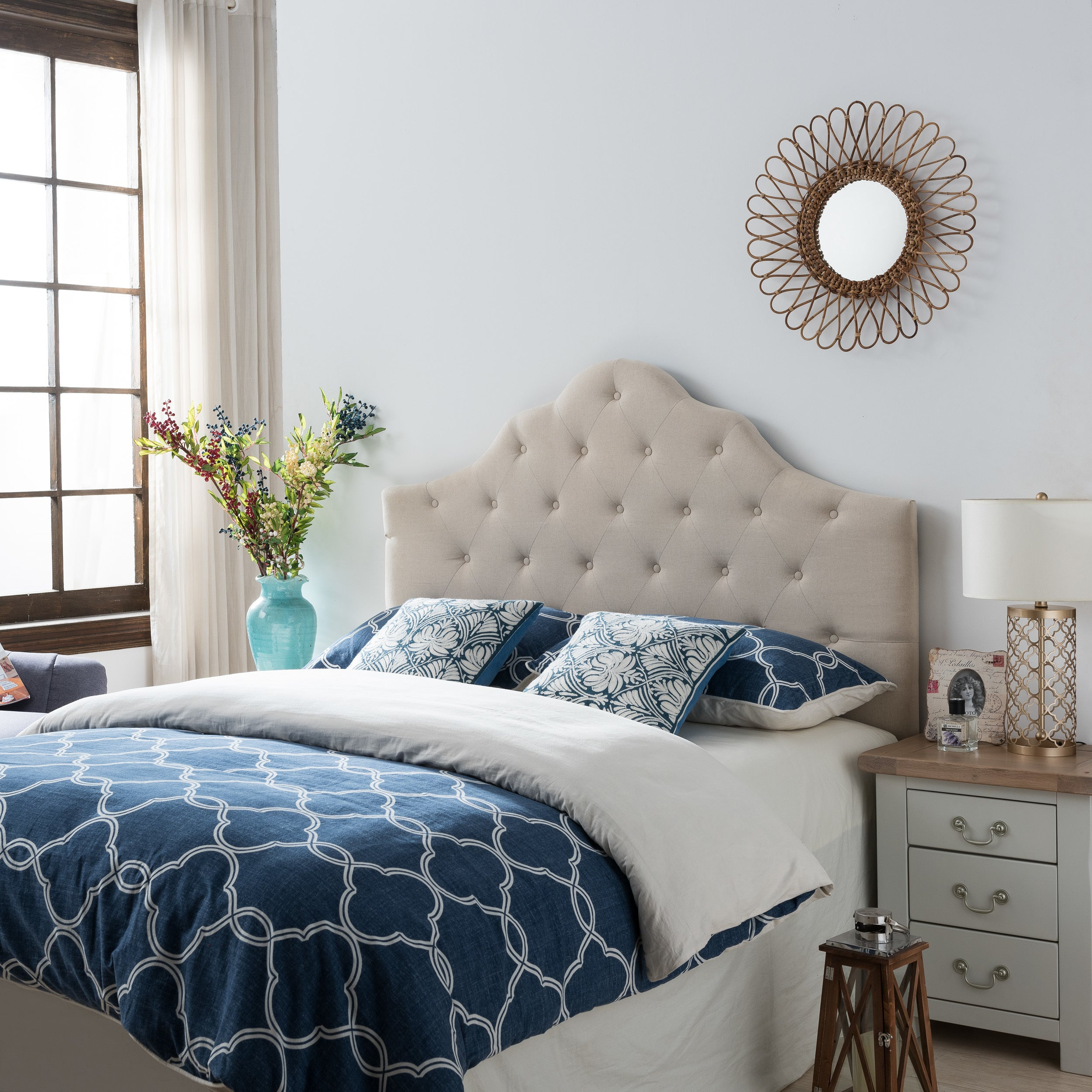 separation shoes fbabc dab04 Marlen Adjustable Full/ Queen Tufted Fabric Headboard by Christopher Knight  Home