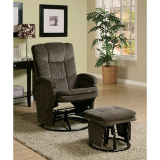 Chocolate Chenille Reclining Glider with Ottoman Chair