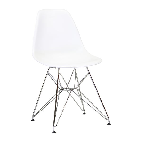 Handmade Mid Century Modern Plastic Dining Chair with EIffel Metal Base (China). Opens flyout.