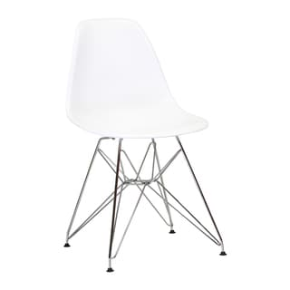 Mid Century Modern Plastic Side Chair with EIffel Metal Base