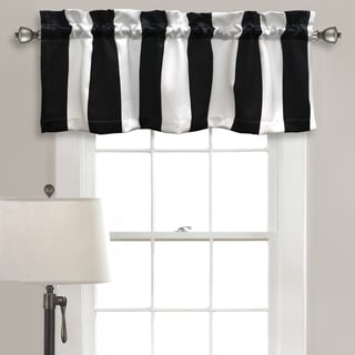 Lush Decor Wilbur Black/White Striped Room-darkening Valance Set