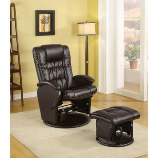 Coaster Company Vinyl Deluxe Glider with Ottoman (2 options available)