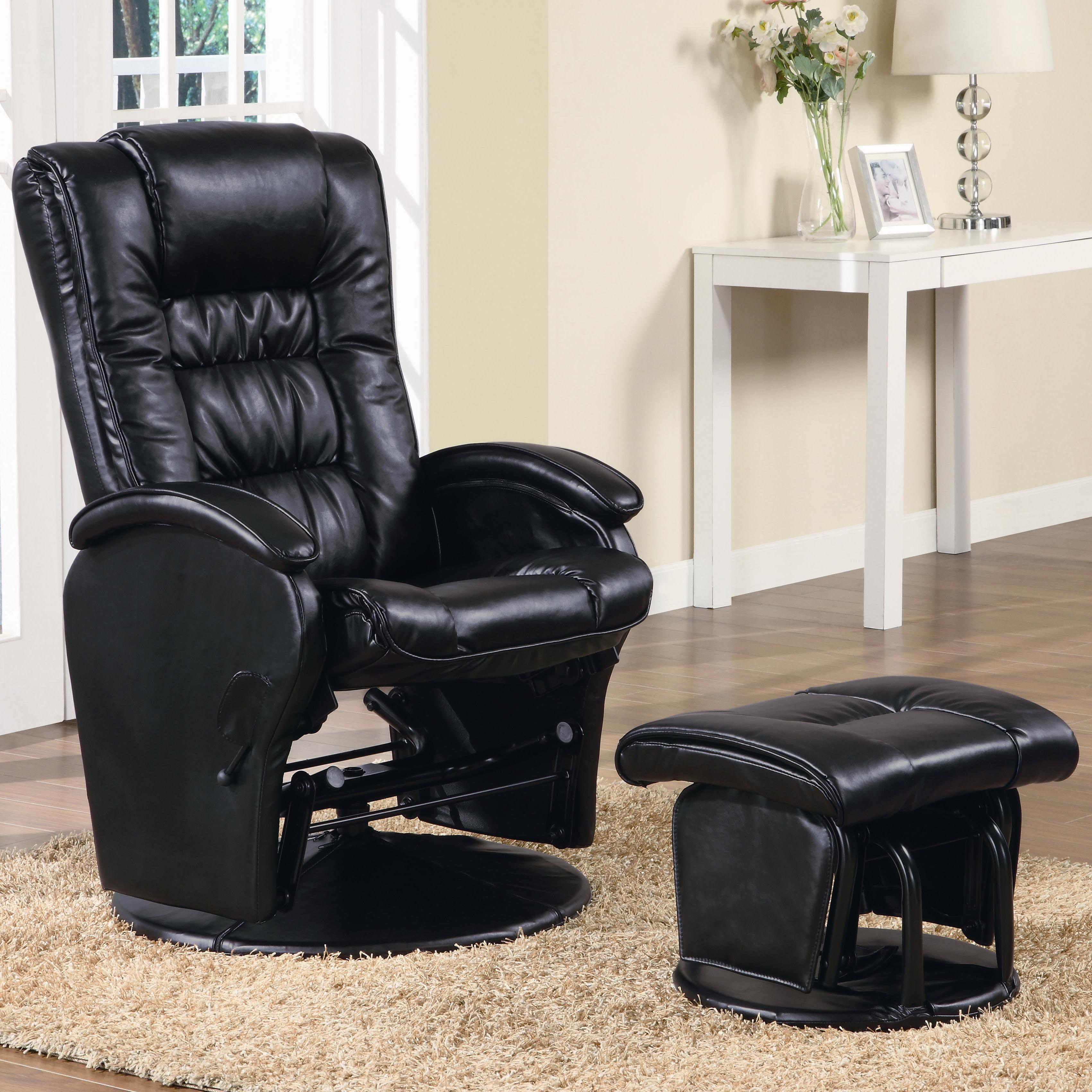 Genial Coaster Company Vinyl Deluxe Glider With Ottoman (Option: Black)