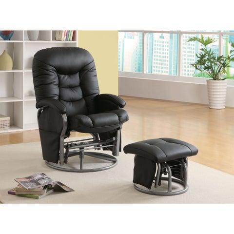 Clay Alder Home Mackinac Leatherette Padded Glider with Ottoman