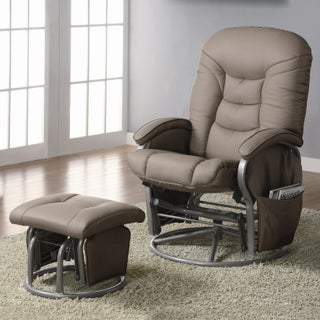 Coaster Company Leatherette Padded Glider with Ottoman