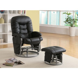 Leatherette Padded Glider with Ottoman