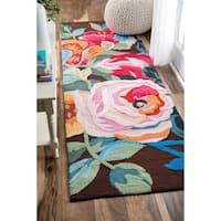 nuLOOM Handmade Floral Brown Runner Rug (2'6 x 8')