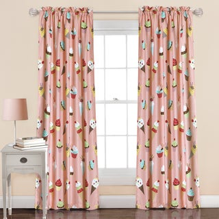 Lush Decor Cupcake Ice Cream Pink Window Curtain Panel Pair
