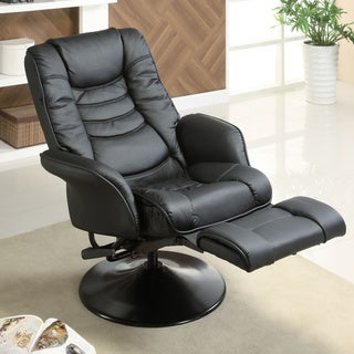 "Coaster Company Black Leatherette Deluxe Swivel Recliner - 33"" x 30.50"" x 43.50"""