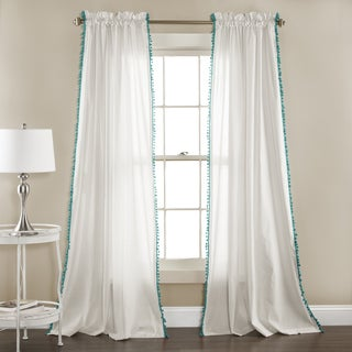 Lush Decor Linen Pom Pom Curtain Panel Pair - 52 x 84