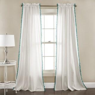 Lush Decor Linen Pom Pom Curtain Panel Pair - 52 x 84