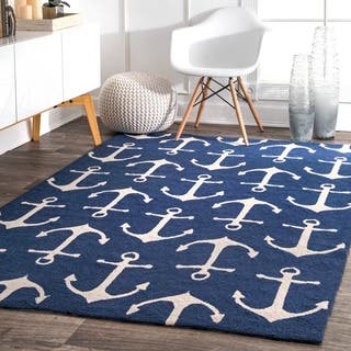 Nuloom Indoor Outdoor Novelty Nautical Anchors Navy Porch Rug 2