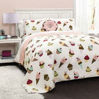 Lush Decor Cupcake and Ice Cream Print 3-Piece Quilt Set