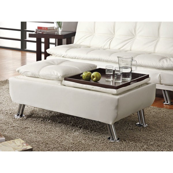 Clay Alder Home Lincoln Hwy Faux Leather Storage Ottoman with Reversible Tray Tops