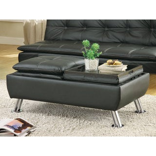 Coaster Company Faux Leather Storage Ottoman with Reversible Tray Tops