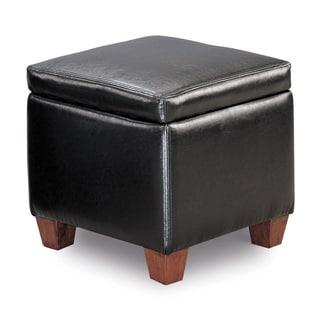 Faux Leather Black Storage Ottoman
