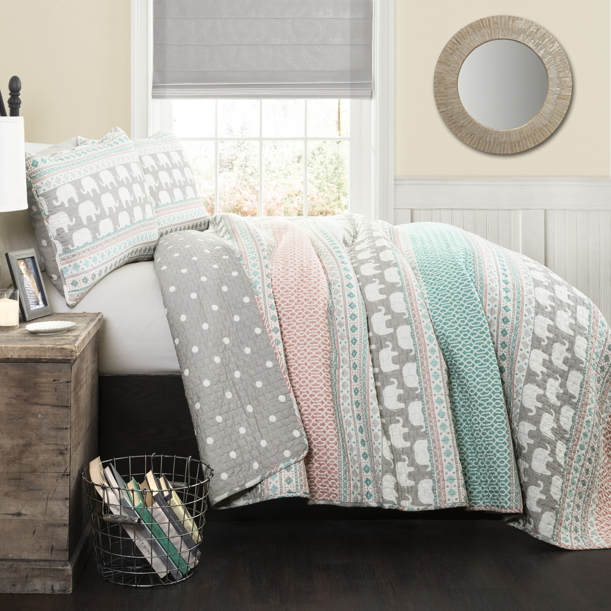 Lush Decor Elephant Stripe 5 Piece Quilt Set
