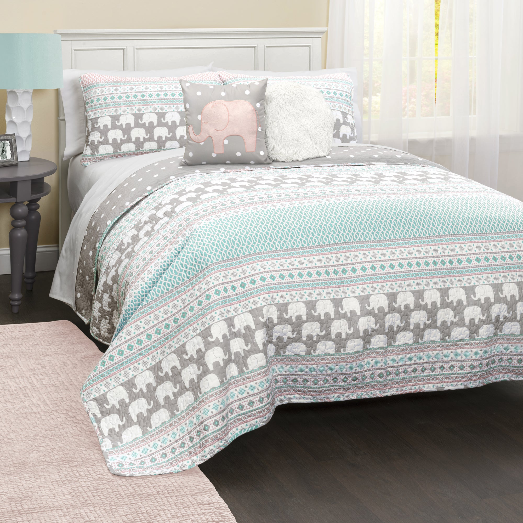Lush Decor Elephant Stripe 5-Piece Quilt Set (5 Piece - Q...