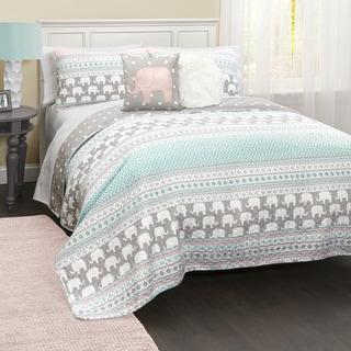 lush decor elephant stripe 5piece quilt set